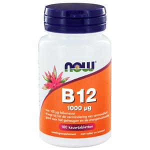 NOW Vitamine B12 Kauwtabletten 1000 mcg (met 100 mcg foliumzuur) afbeelding