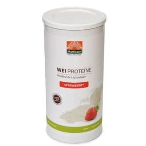 Mattisson Healthstyle Weiproteïne Aardbei (75% eiwit, biologische wei) afbeelding