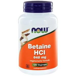 NOW Betaine HCL 648 mg vegetarische formule afbeelding