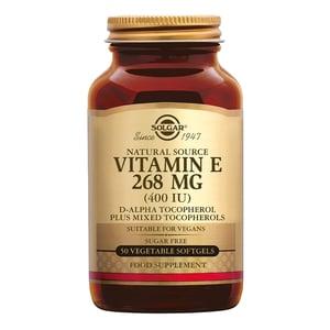 Solgar Vitamins Vitamin E 268 mg/400 IU Vegan (vitamine E in plantaardige softgels) afbeelding