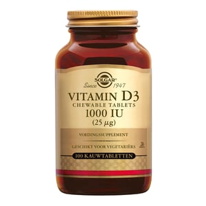 Solgar Vitamins Vitamin D-3 25 µg/1000 IU (vitamine D kauwtablet) afbeelding