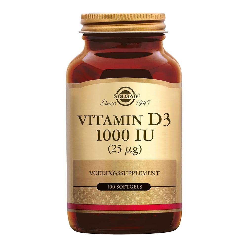Afbeelding van Solgar Vitamins Vitamin D-3 25µg/1000 IU (vitamine D uit levertraan)