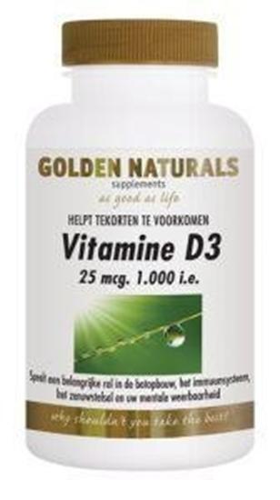 Golden Naturals Vitamine D3 1000IE 25 mcg afbeelding
