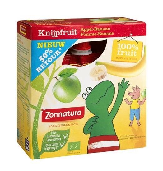 Zonnatura Knijpfruit appel/banaan kikker 85 gram afbeelding