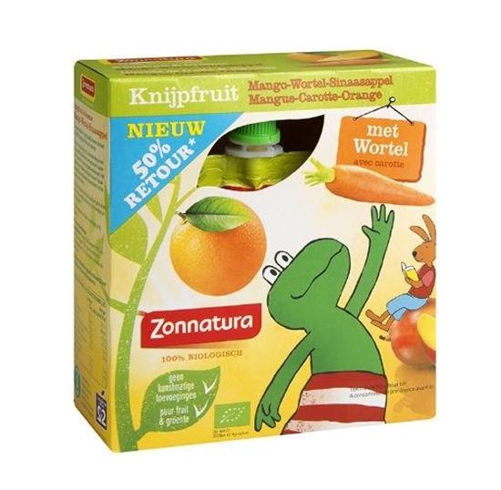 Zonnatura Knijpfruit groente mango/wortel/sinas kikker 85g afbeelding