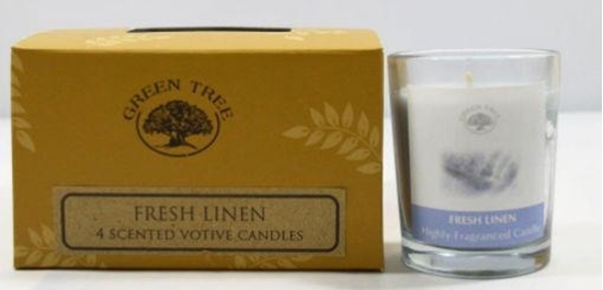 Green Tree Geurkaars fresh linen votives afbeelding